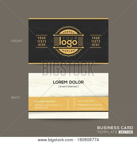 black business card with wood pattern background
