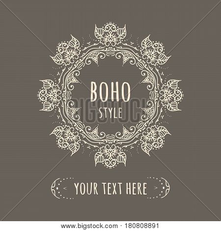 Hand drawn Boho style frame teal background with place text. Circle Boho wreath for invitations, save the date wedding card design. Yoga Meditation Logo Graphic. Vector illustration