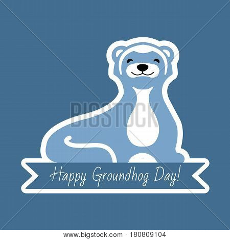 Happy Groundhog Day typography and design with cute groundhog character. Illustration, postcards for your design.