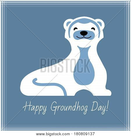 Happy Groundhog Day typography and design with cute groundhog character. Illustration, for your design.