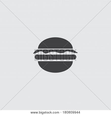 Burger icon in a flat design in black color. Vector illustration eps10