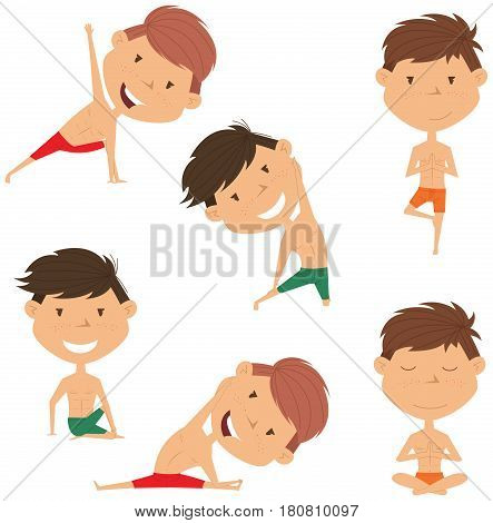 Male yoga vector collection. Handsome boys doing fitness exercises. Gymnastics for kids. Nice man in various workout poses. Sport healthy lifestyle.
