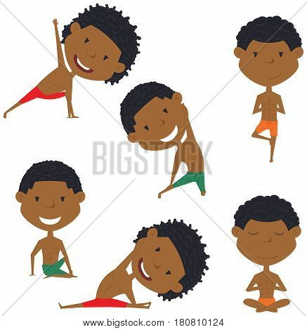 Male yoga vector collection. Handsome boys doing fitness exercises. Gymnastics for kids. African-American man in various workout poses. Sport healthy lifestyle.