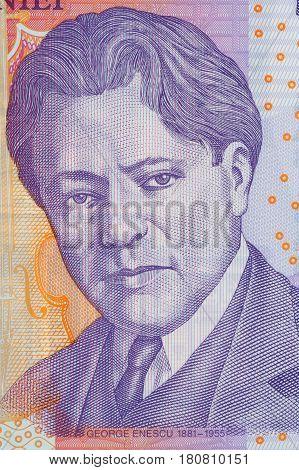 George Enescu portrait from Romanian money - Lei