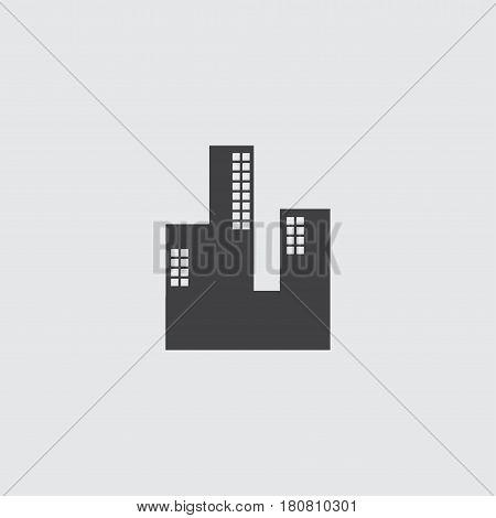 Skyscaper icon in a flat design in black color. Vector illustration eps10