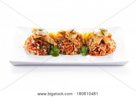 Roast chicken with rice and vegetables