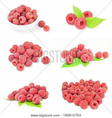 Set of ripe red raspberries isolated on white