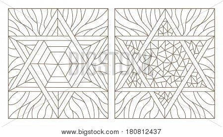 Set contour illustrations of the stained glass Windows with star of David dark outline on a white background