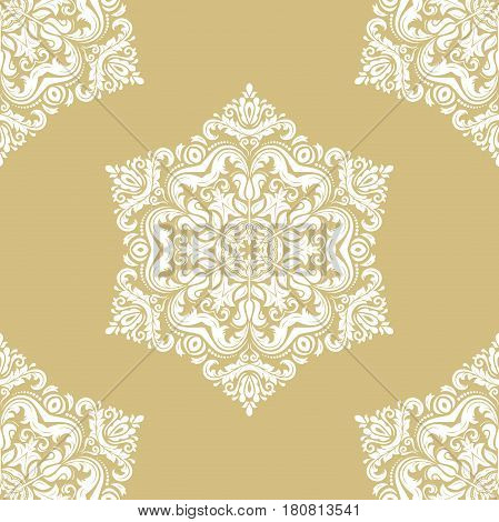 Seamless classic gold and white pattern. Traditional orient ornament