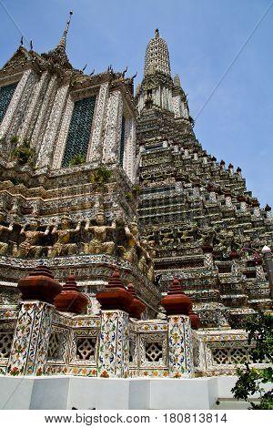 Asia  Thailand    Bangkok    Roof    Palaces     Sky      Religion      Mosaic