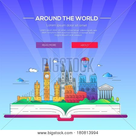 Around the world - modern vector line travel illustration. Have a trip, enjoy your vacation. Discover Italy, Germany and Great Britain. Be on a safe and exciting journey. Landmarks on a book - tower of london, coliseum, cathedral, balloon, bridge