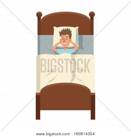 man slepping at the bed, cartoon icon over white background. colorful design. vector illustration