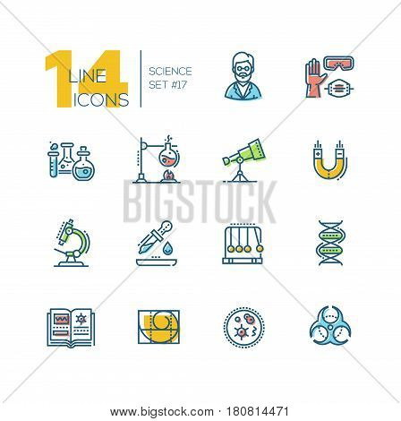 Science - colored vector modern single line icons set. Scientist, glove, glasses, respirator, flask, telescope, magnet, microscope, pipette, pendulum, dna, book, spiral, microorganism, biohazard