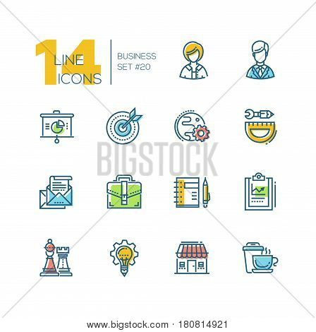 Business - colored vector modern single line icons set. Male, female person, pie chart, globe, gear, protractor, pencil, letter, case, notepad, chess king, queen, light bulb, house, coffee.