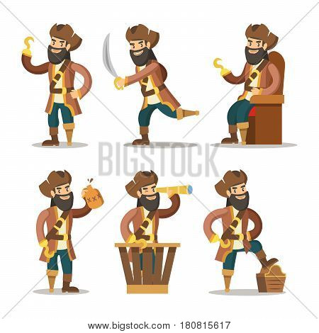 Funny Cartoon Pirate with Sword and Treasure. Vector illustration