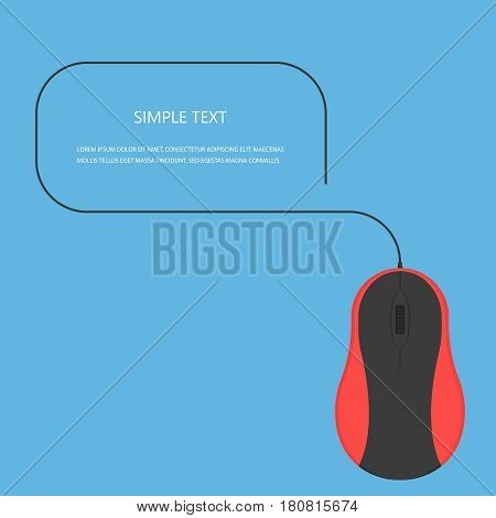 Mouse vector concept.Computer mouse in modern flat style. Office technique on background. Color mouse  icon isolated vector illustration for web design on printed materials.