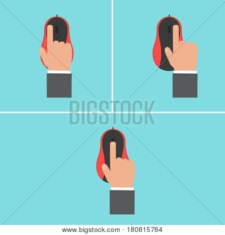 Mouse with hand vector concept.Computer mouse in modern flat style. Office technique on background. Color mouse  icon isolated vector illustration for web design on printed materials.