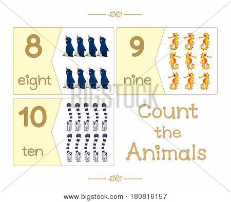 Puzzle cards set. Count numbers 0-10. Addition series English ABC Amusing Animals.  part 3/3