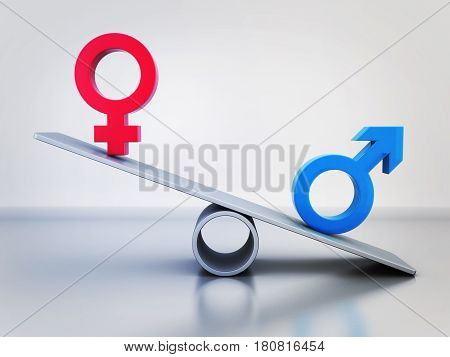 Abstract in-equality of men and women. 3d illustration