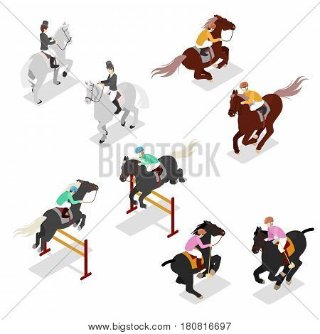 Equestrian Sports - Polo, Dressage, Contest. Man on Horse. Isometric vector flat 3d illustration