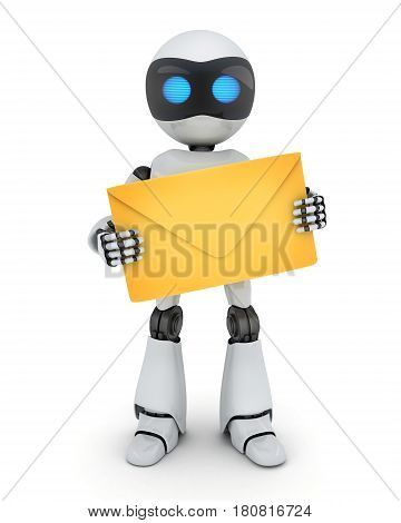 Robot and e-mail on white background. 3d illustration