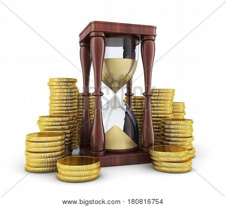 sandglass and money on white background. 3d illustration