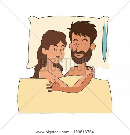happy couple slepping, cartoon icon over white background. colorful design. vector illustration