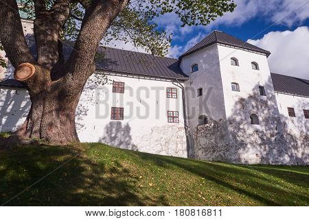 Turku Castle In Bright Sunshine In Finland On A Sunny Summer Day