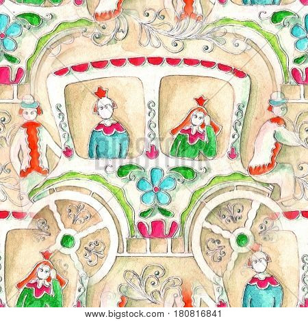 Painted watercolor coach. Hand maid illustration. Russian style