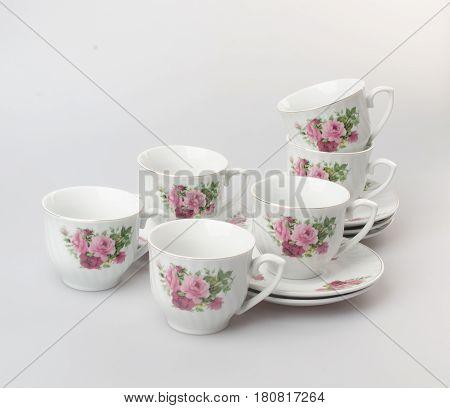Teacup Or Teacup Set On A Background.