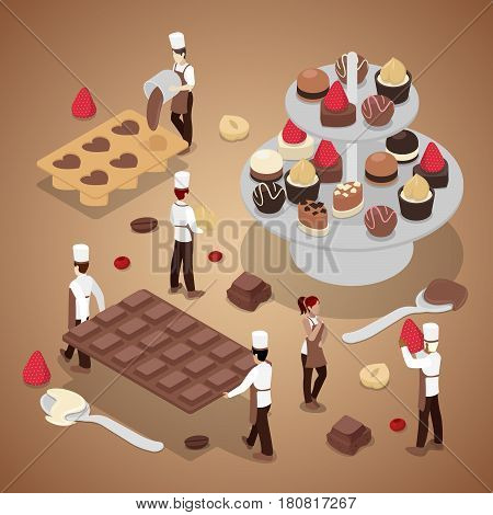 Miniature People Making Chocolate Candies. Sweet Food Production. Isometric vector flat 3d illustration