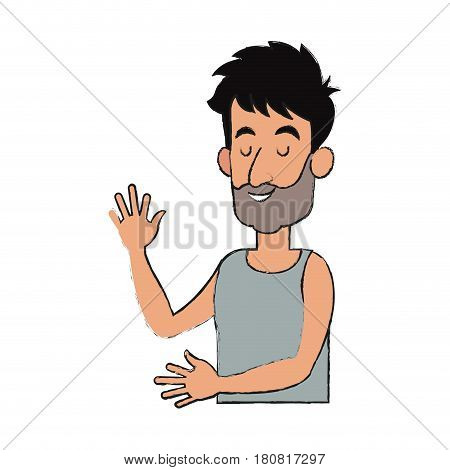 slepping man, cartoon icon over white background. vector illustration