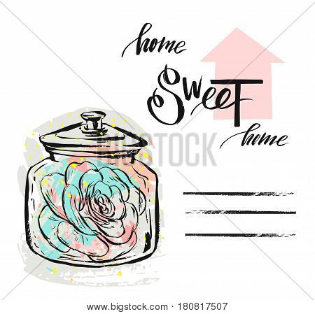 Hand drawn vector abstract textured illustration with succulent plant in glass jar and handwritten modern calligraphy quote home sweet home isolated on white background.Scandinavian decoration.