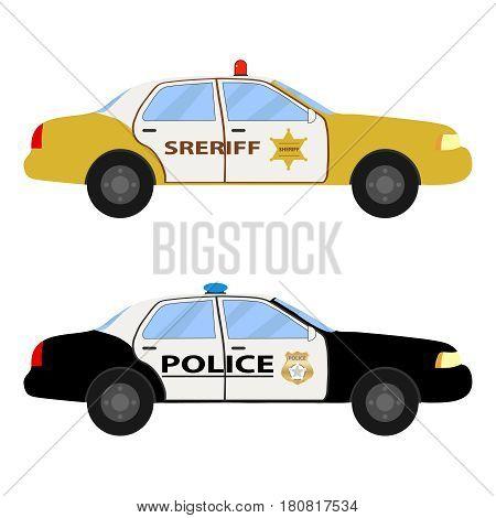 Police car. Flat design vector illustration vector.