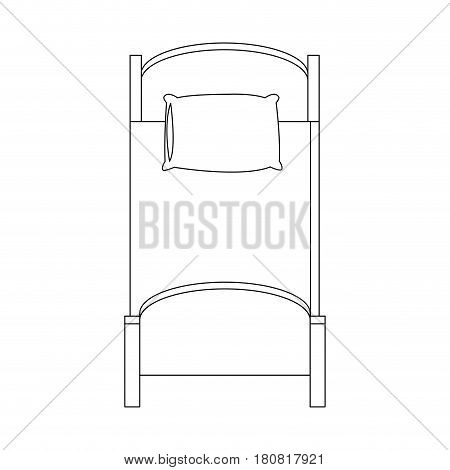 single bed icon over white background. vector illustration