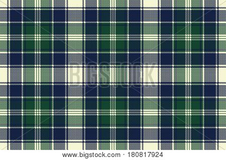 Classic check plaid seamless pixel fabric texture. Vector illustration.