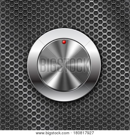 Metal switch knob button. On steel perforated background. Vector 3d illustration