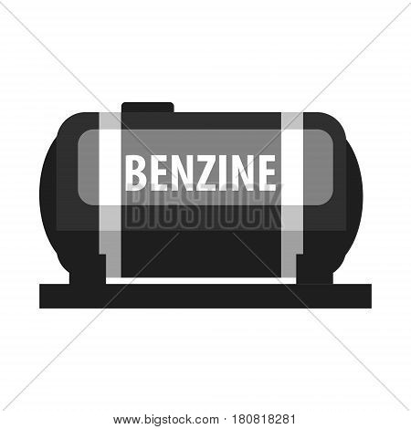 Benzine fuel tank. Production and transportation of oil and oil products. Flat vector illustration isolated on a white background