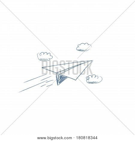 Hand drawn sketch of paper plane flying between clouds. Pencil cartoon for business concept of freedom, challenge or summer travel. Eps10 vector illustration.