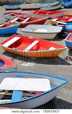 VALLE GRAN REY, LA GOMERA, SPAIN - MARCH 19, 2017: The village of Vueltas with colorful boats