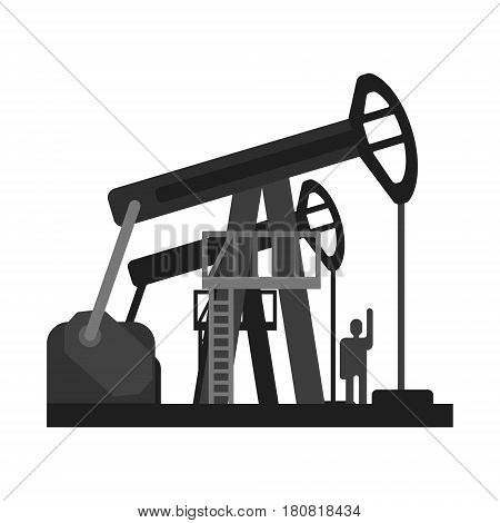 Oil pump jacks. Oil industry production equipment, flat vector illustration isolated on a white background