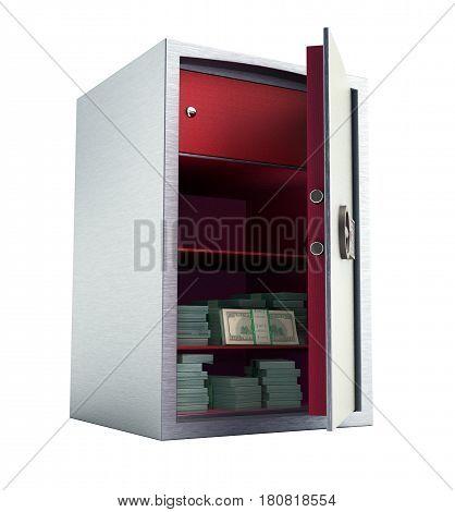 Bank Safe With Money Stacks Of Dollar Bills 3D Render No Shadow