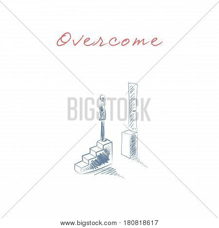 Business challenge concept with man standing on stairs. Hand drawn sketch business symbol. Goal or target behind obstacle. Eps10 vector illustration.