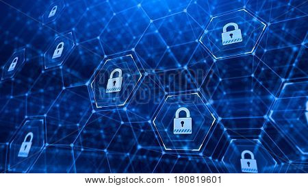 hexagonal grid and padlocks -Technology security concept background. 3d render