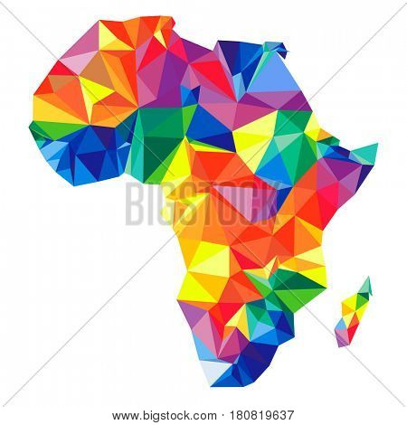 Abstract continent of Africa from triangles. Origami style. Vector polygonal pattern for your design.