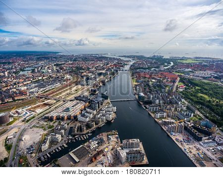 City aerial view over Copenhagen, The Denmark. View from the bird's flight