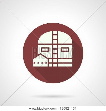 Abstract white silhouette of industrial barn. Storage facilities and buildings. Round flat design color vector icon, long shadow.