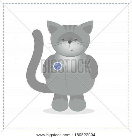 Cute gray kitten plush toy. Vector cartoon