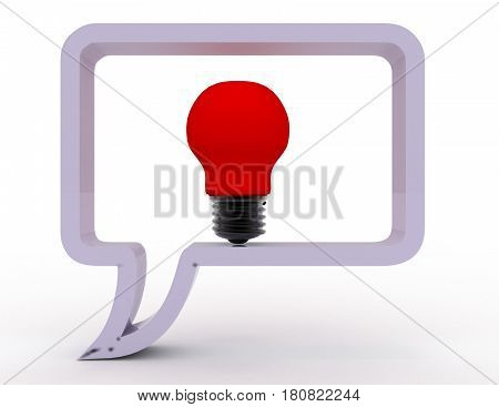3D Silhouette Dialog With Light Bulb Inside. Rendered Illustration