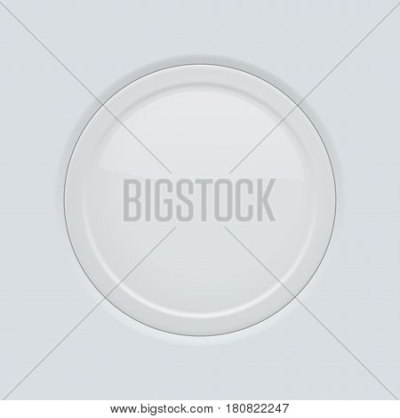 Round button pushed. On gray interface background. Vector illustration